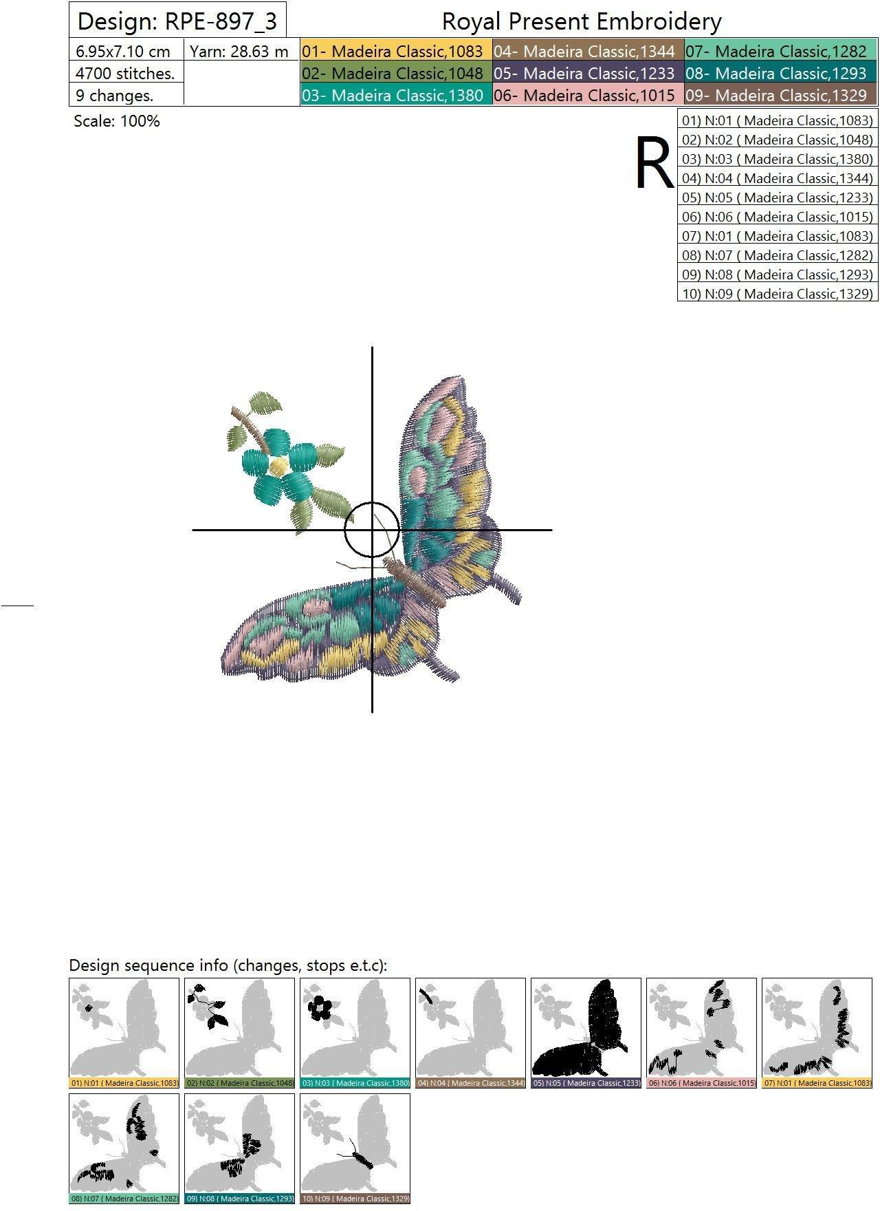 Дизайн машинной вышивки Разноцветная Бабочка