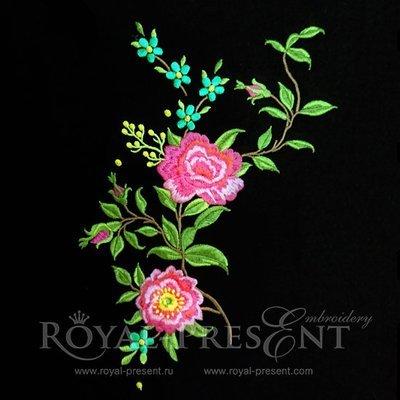 Дизайн машинной вышивки Розы садовые -  3 размера