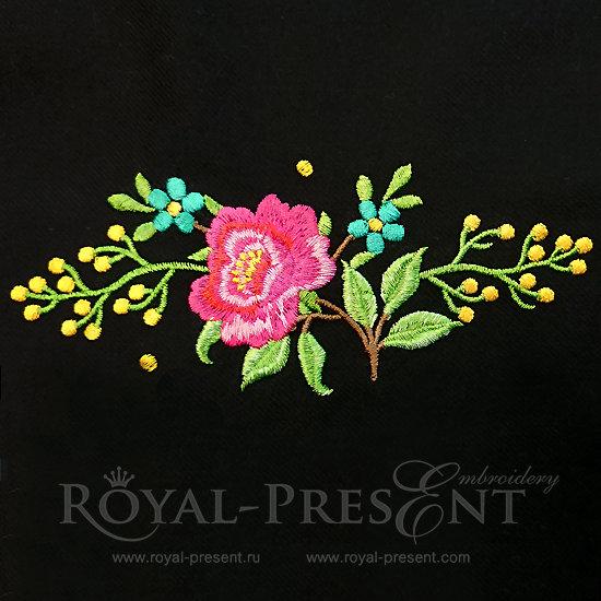 Дизайн машинной вышивки Роза садовая -  2 размера