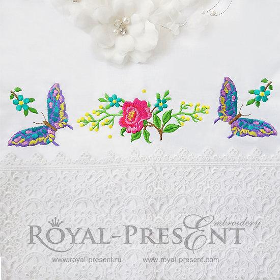 Набор дизайнов машинной вышивки Розы и бабочки