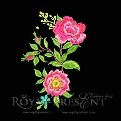 Дизайн машинной вышивки Чайные розы букет - 2 размера