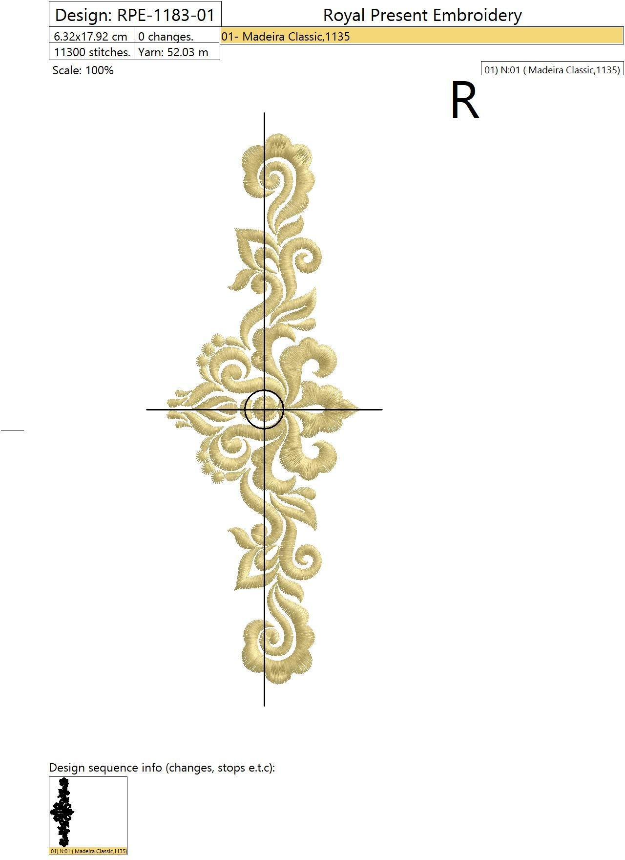 Дизайн машинной вышивки Абстрактный Элегантный декор - 3 размера