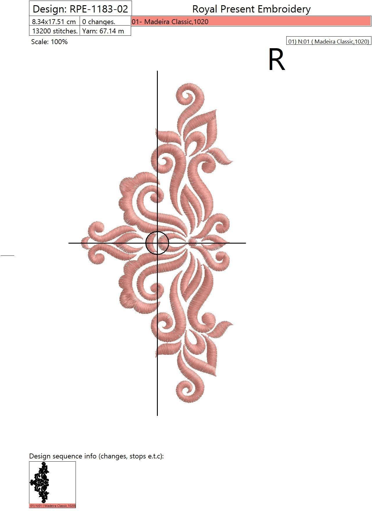 Дизайн машинной вышивки Дамаск - 3 размера