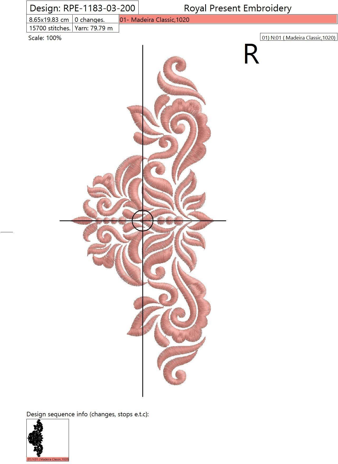 Дизайн машинной вышивки Абстрактный Элегантный декор III - 3 размера
