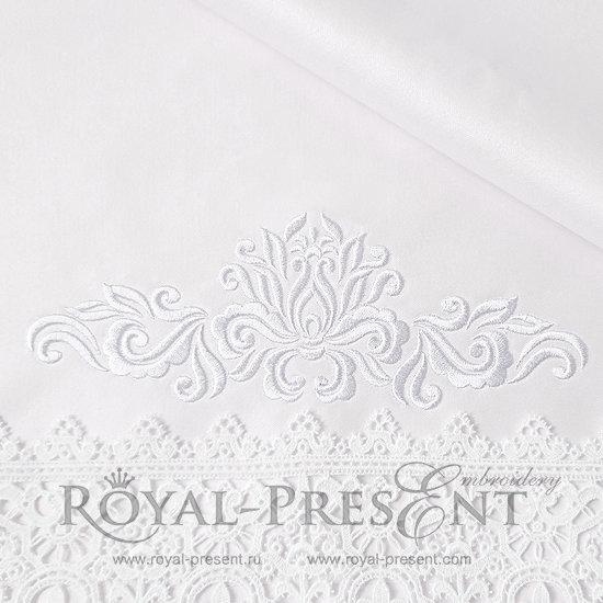 Дизайн машинной вышивки Абстрактный Белый Элегантный декор - 3 размера