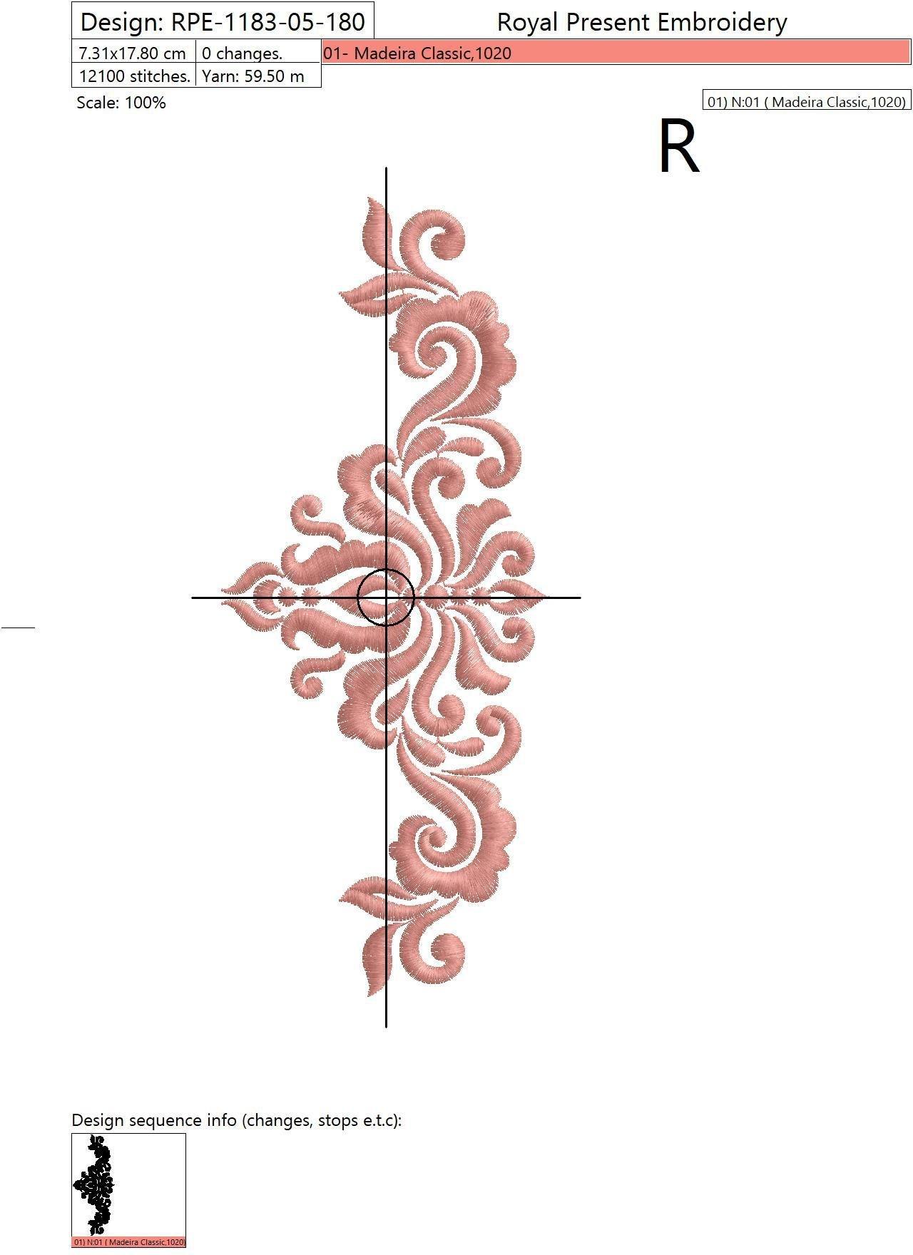 Дизайн машинной вышивки Абстрактный Элегантный декор V - 3 размера