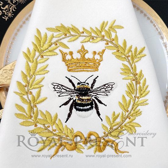 Дизайн машинной вышивки Королевская Пчела - 3 размера RPE-721