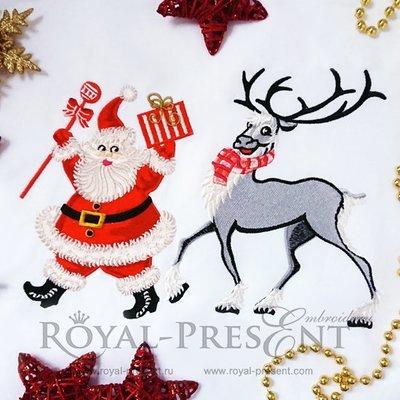 Дизайн машинной вышивки Дед Мороз и Рождественский Олень - 2 размера