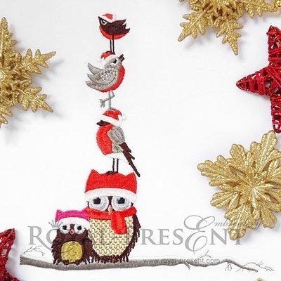 Дизайн машинной вышивки Рождественские Совы на веточке - 2 размера