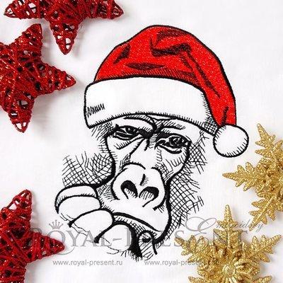 Дизайн машинной вышивки Новогодняя обезьяна в колпаке Деда Мороза