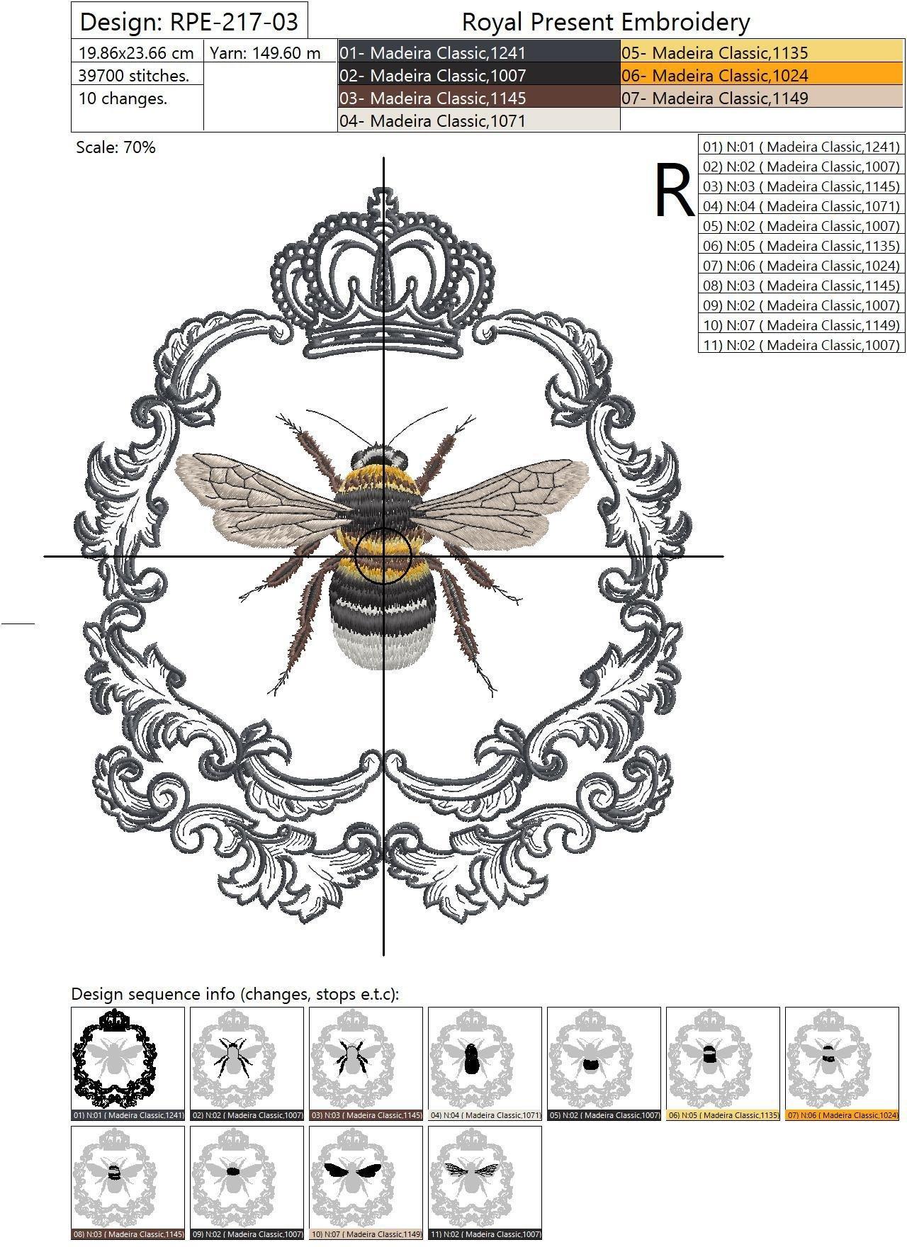 Дизайн машинной вышивки Королева Пчела - 3 размера