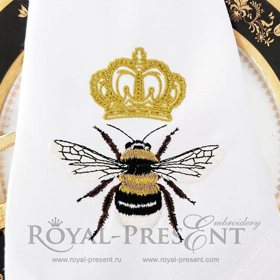 Дизайн машинной вышивки Пчела с короной RPE-608