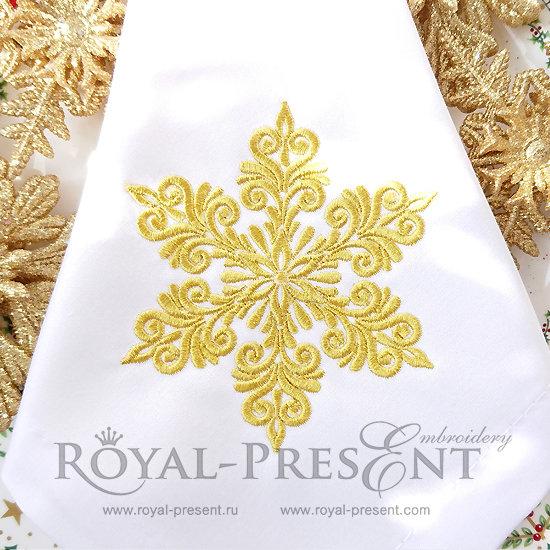 Дизайн машинной вышивки Новогодняя снежинка - 4 размера