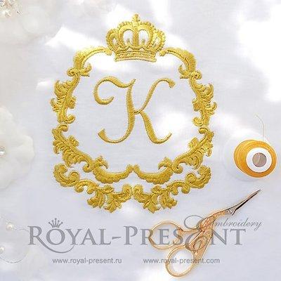 Дизайн машинной вышивки Золотое Обрамление с короной - 2 размера
