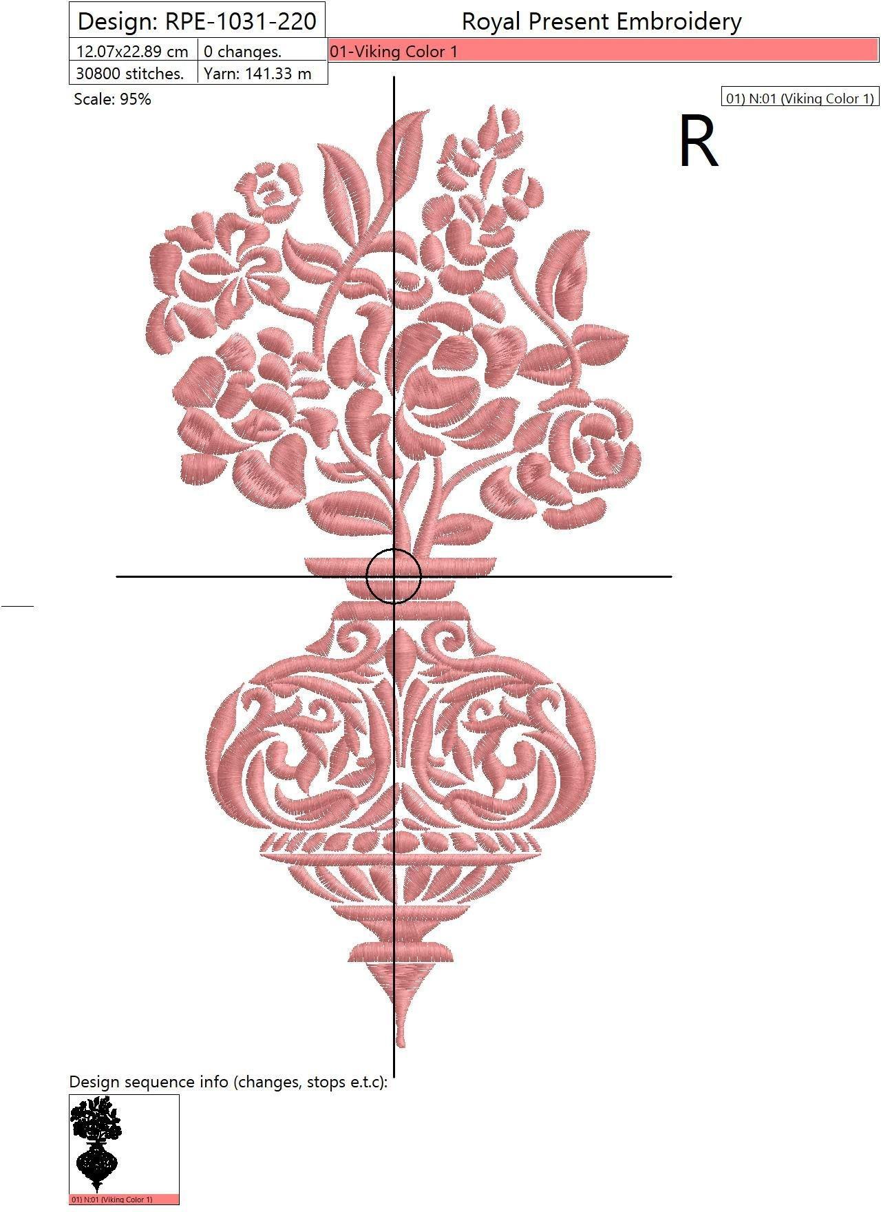Дизайн машинной вышивки Дамасский орнамент Ваза с цветами - 2 размера