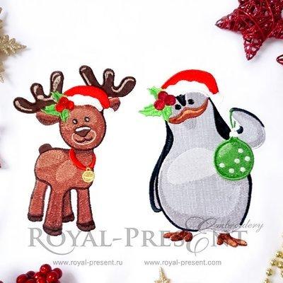 Дизайны машинной вышивки Новогодние Олененок и Пингвин - 2 размера