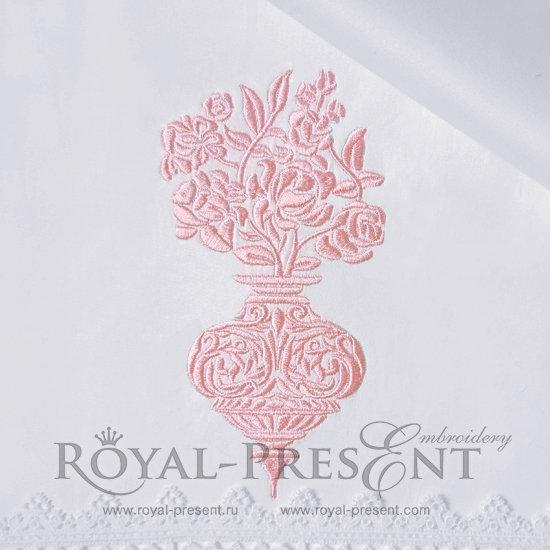 Дизайн машинной вышивки Дамасский орнамент Ваза с цветами - 2 размера RPE-1031