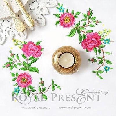 Набор угловых дизайнов машинной вышивки Розы садовые - 2 размера