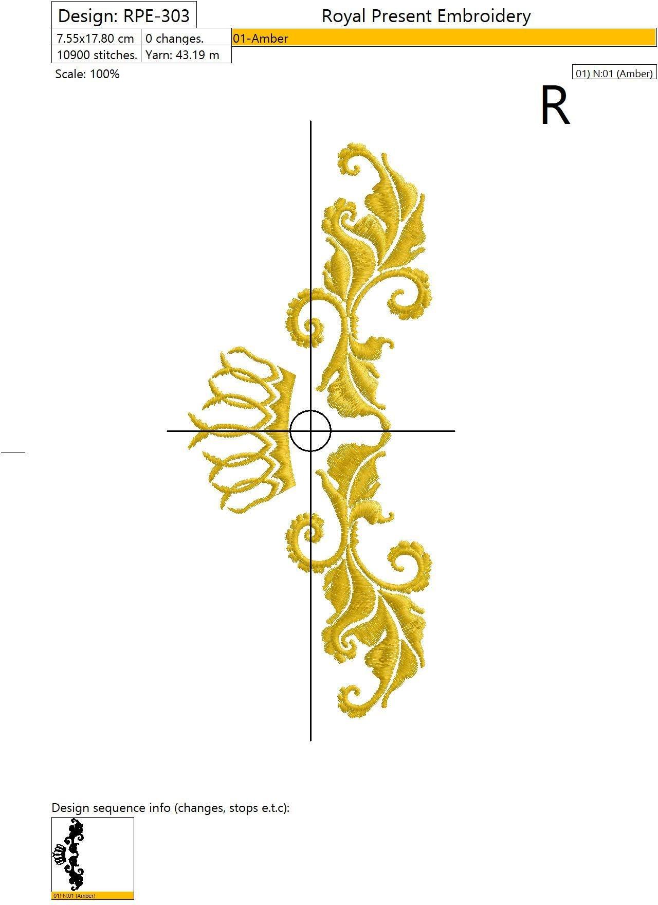Дизайн машинной вышивки Декоративный элемент с короной VI- 2 размера