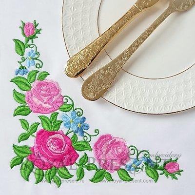 Угловой Дизайн машинной вышивки Розовые Розы - 3 размера