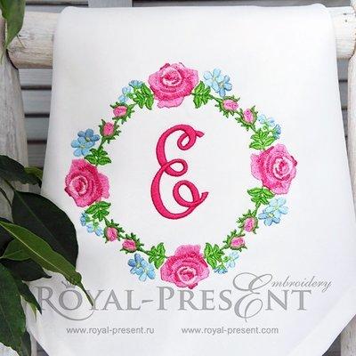 Круговой дизайн машинной вышивки Розовые Розы - 4 размера