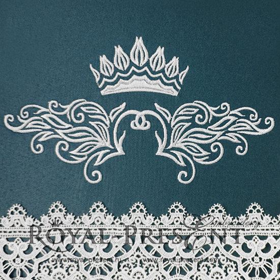 Дизайн машинной вышивки Декоративный элемент с короной - 2 размера RPE-147