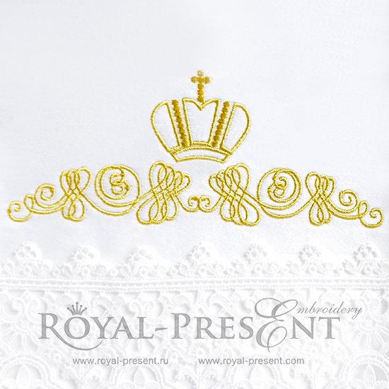 Дизайн машинной вышивки Декоративный элемент с короной II- 2 размера