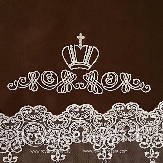 Дизайн машинной вышивки Декоративный элемент с короной II- 2 размера RPE-913