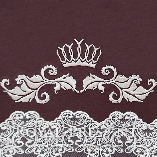 Дизайн машинной вышивки Декоративный элемент с короной VI- 2 размера RPE-303