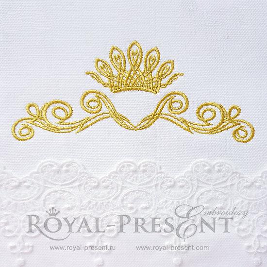 Дизайн машинной вышивки Декоративный элемент с короной IV- 2 размера RPE-071
