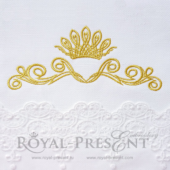 Дизайн машинной вышивки Декоративный элемент с короной IV- 2 размера