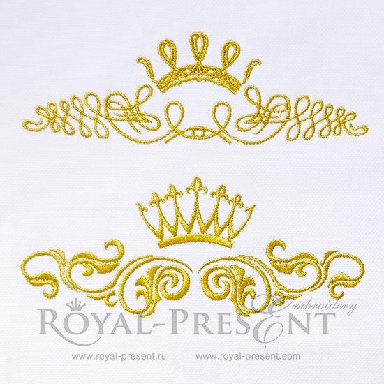 Два дизайна машинной вышивки Декоративные элементы с короной - 2 размера RPE-539