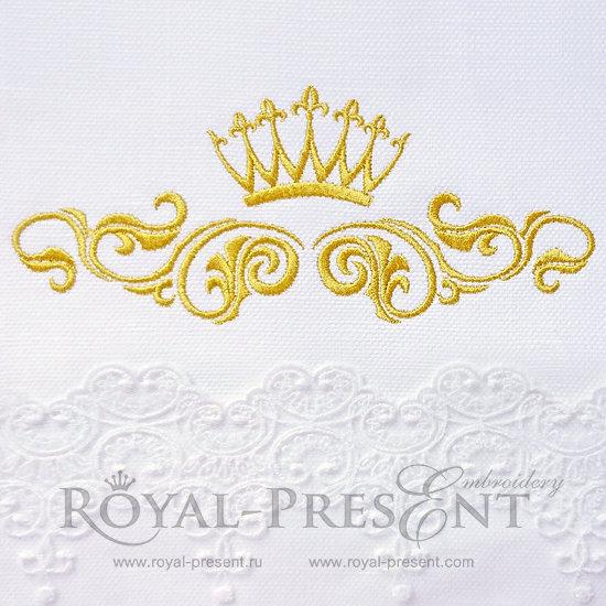 Дизайн машинной вышивки Декоративный элемент с короной III- 2 размера RPE-356