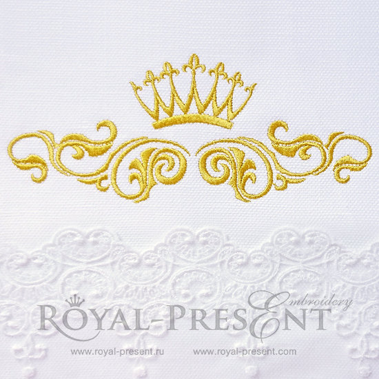 Дизайн машинной вышивки Декоративный элемент с короной III- 2 размера