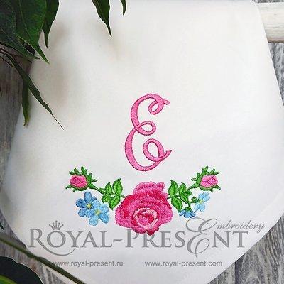 Дизайн машинной вышивки Гирлянда из роз - 3 размера