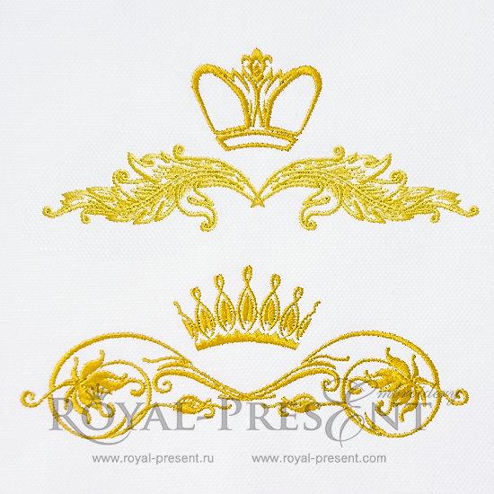 Дизайны машинной вышивки Декоративные короны - 2 размера RPE-071-2