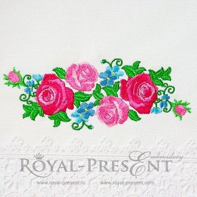 Дизайн машинной вышивки Розовые Розы бордюр - 2 размера