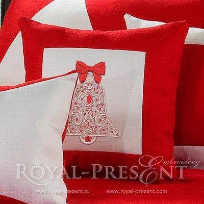 Дизайн вышивки Новогодний колокольчик с рубинами - 4 размера