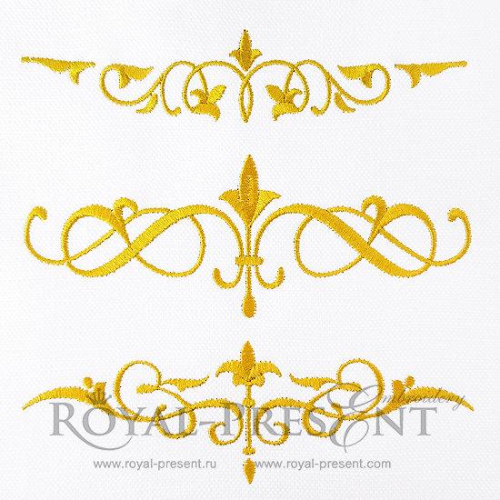Набор дизайнов машинной вышивки Три декоративных элемента RPE-873-01
