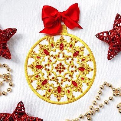 Дизайн машинной вышивки Новогодний шарик с рубинами - 5 размеров