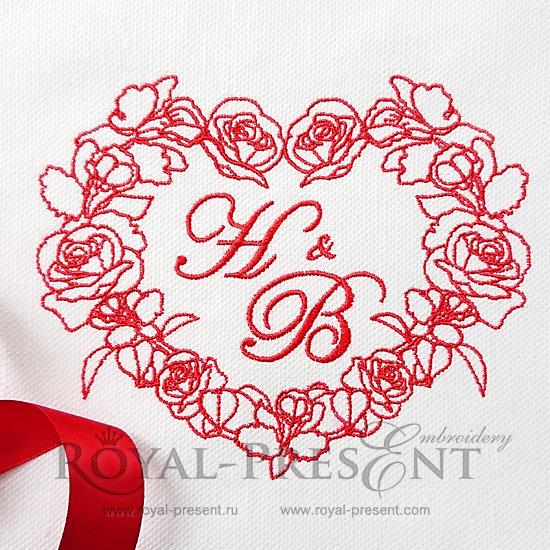 Дизайн для машинной вышивки Сердце из роз и орхидей - 3 размера