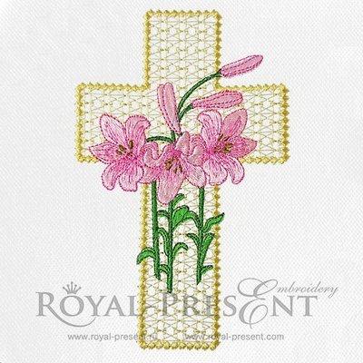Дизайн машинной вышивки Пасхальный крест с лилиями