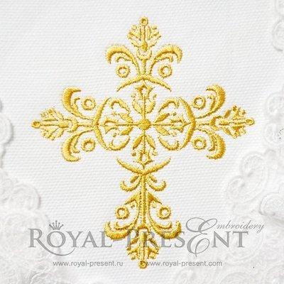 Дизайн машинной вышивки Золотой орнаментальный крестик - 2 размера