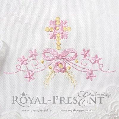 Дизайн машинной вышивки для крестин Крестик и бант с цветами