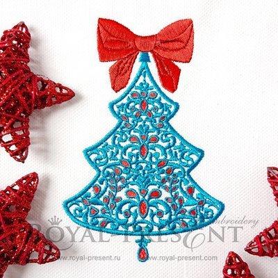 Дизайн машинной вышивки Рождественская елочка с рубинами - 7 размеров
