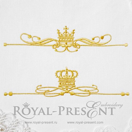 Два дизайна машинной вышивки Классические декоративные элементы с короной - 4 размера