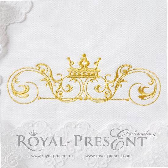 Дизайн машинной вышивки Классический декоративный элемент с короной - 4 размера RPE-1187