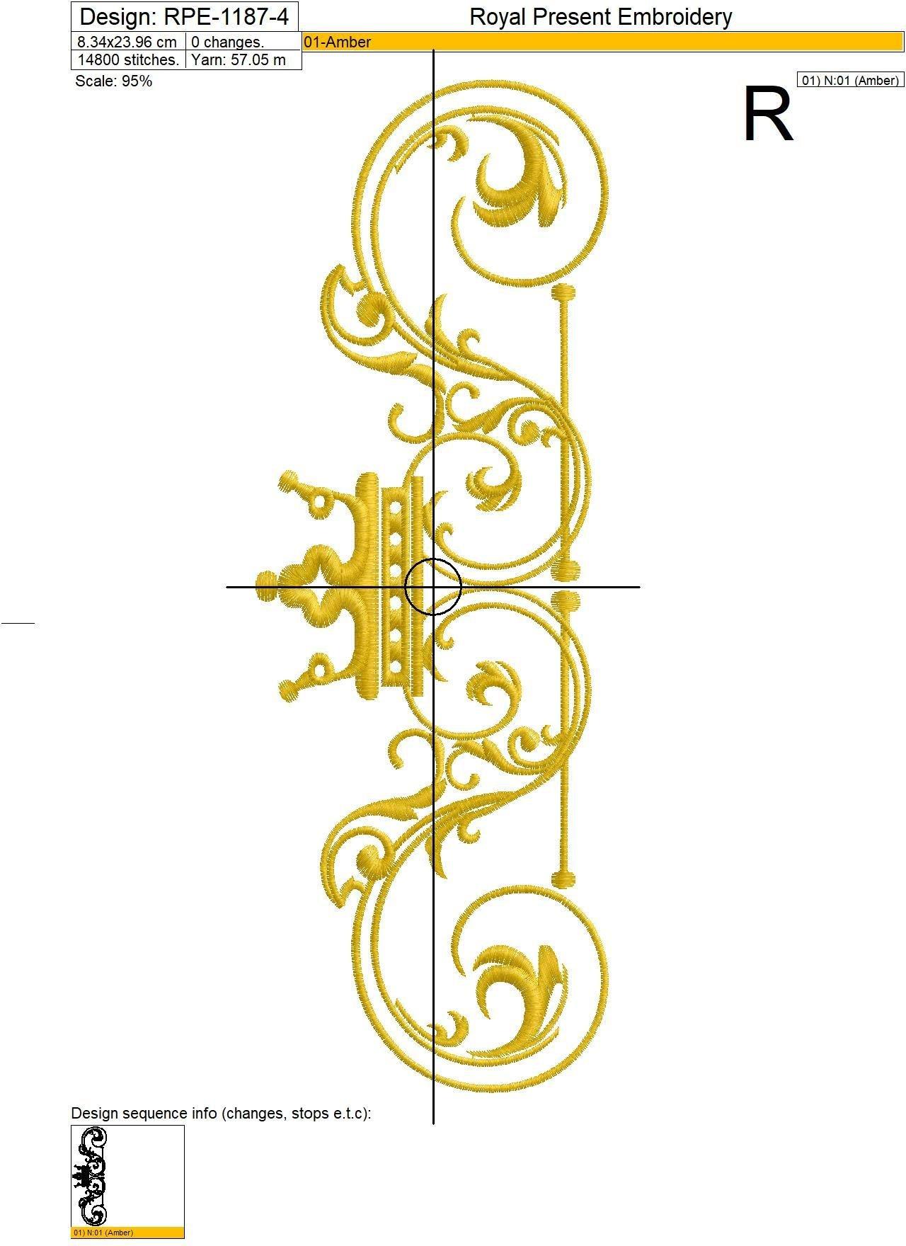 Дизайн машинной вышивки Классический декоративный элемент с короной - 4 размера