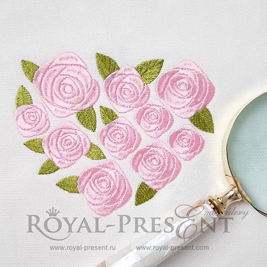 Дизайн машинной вышивки Сердце из садовых роз - 3 размера