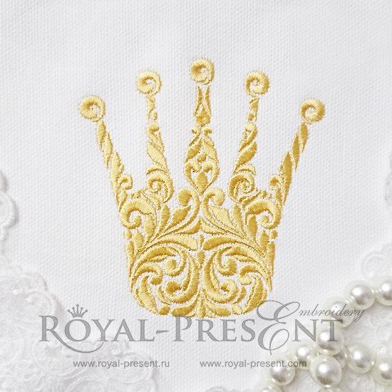 Дизайн для машинной вышивки Витиеватая корона - 4 размера RPE-404
